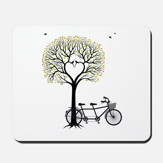 Heart tree with birds and tandem bicycle Mousepad