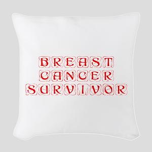 breast-cancer-survivor-kon-red Woven Throw Pillow
