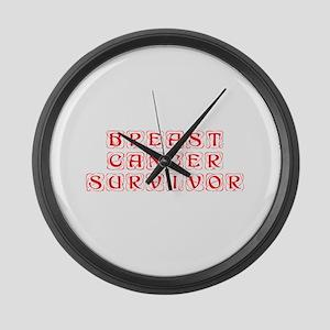 breast-cancer-survivor-kon-red Large Wall Clock