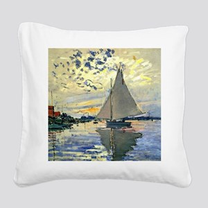 Monet - Sailboat at Le Petit- Square Canvas Pillow