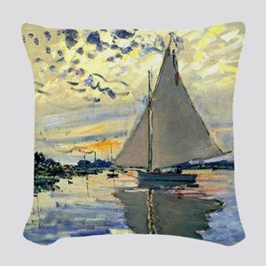 Monet - Sailboat at Le Petit-G Woven Throw Pillow