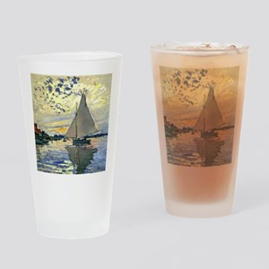 Monet - Sailboat at Le Petit-Gennev Drinking Glass