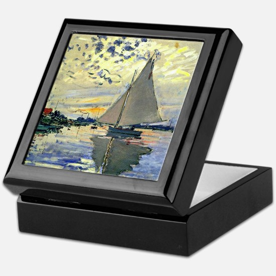 Monet - Sailboat at Le Petit-Gennevil Keepsake Box