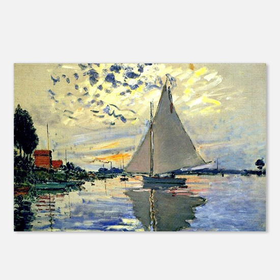Monet - Sailboat at Le Pe Postcards (Package of 8)