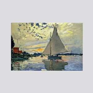 Monet - Sailboat at Le Petit-Genn Rectangle Magnet
