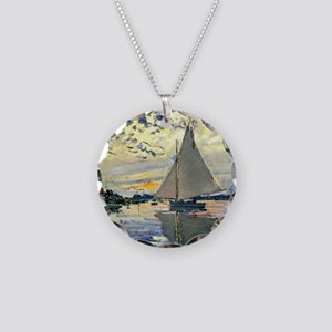 Monet - Sailboat at Le Petit Necklace Circle Charm