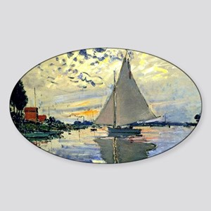 Monet - Sailboat at Le Petit-Gennev Sticker (Oval)