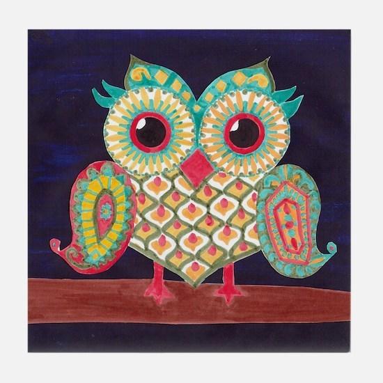 Midnight Eastern Owl Tile Coaster