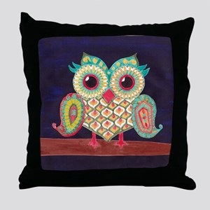 Midnight Eastern Owl Throw Pillow