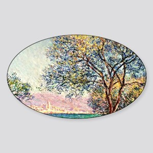 Monet - Antibes in the Morning, Cla Sticker (Oval)