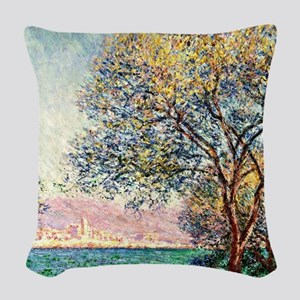 Monet - Antibes in the Morning Woven Throw Pillow