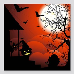 Halloween Bloody Moonlight Nightmare Square Car Ma