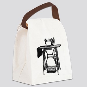 Vintage Sewing Machine Canvas Lunch Bag
