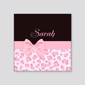 Girly Pink with Bow - Customized Square Sticker 3""