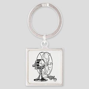 Vintage Fan Square Keychain