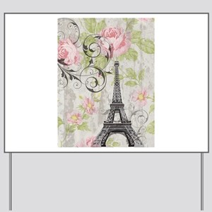 floral paris eiffel tower roses Yard Sign