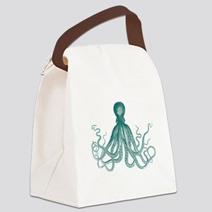Dark Teal Octopus Canvas Lunch Bag