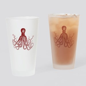 Burgundy Octopus Drinking Glass