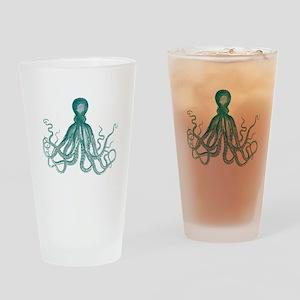 Dark Teal Octopus Drinking Glass
