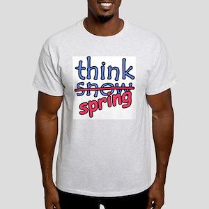 Think Snow Think Spring Ash Grey T-Shirt