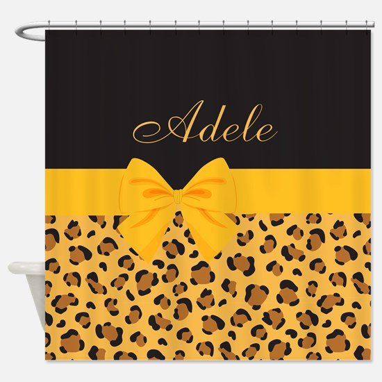 Yellow Bow Animal Print Pattern Shower Curtain
