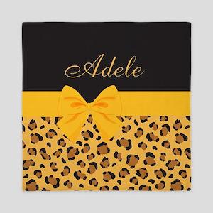 Yellow Bow Animal Print Pattern Queen Duvet