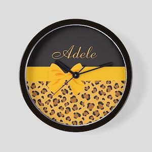 Yellow Bow Animal Print Pattern Wall Clock