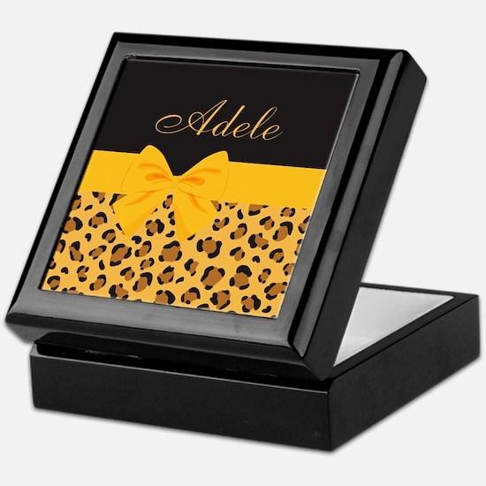 Yellow Bow Animal Print Pattern Keepsake Box