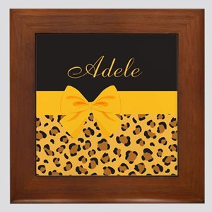 Yellow Bow Animal Print Pattern Framed Tile