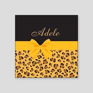 "Yellow Bow Animal Print Pattern Square Sticker 3"""