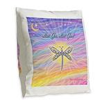 LetGo-Dragonfly (multi) Burlap Throw Pillow
