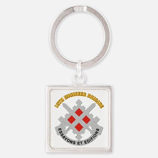 DUI-18th Engineer Brigade with text Square Keychai