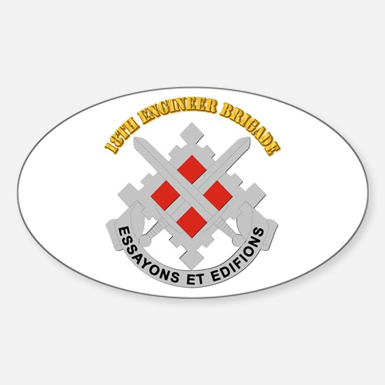 DUI-18th Engineer Brigade with text Sticker (Oval)