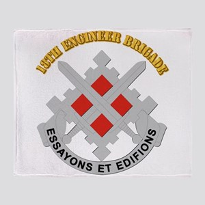 DUI-18th Engineer Brigade with text Throw Blanket