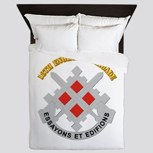 DUI-18th Engineer Brigade with text Queen Duvet
