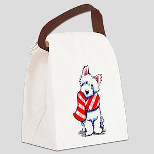Westie Plaid Scarf Canvas Lunch Bag