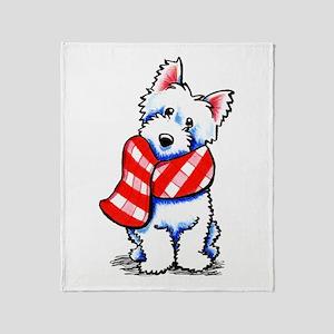 Westie Plaid Scarf Throw Blanket