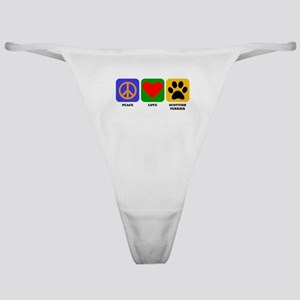 Peace Love Scottish Terrier Classic Thong