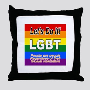 Let's Do It LGBT Flag Throw Pillow
