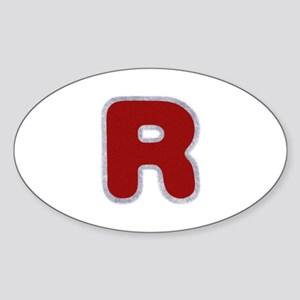 R Santa Fur Oval Sticker