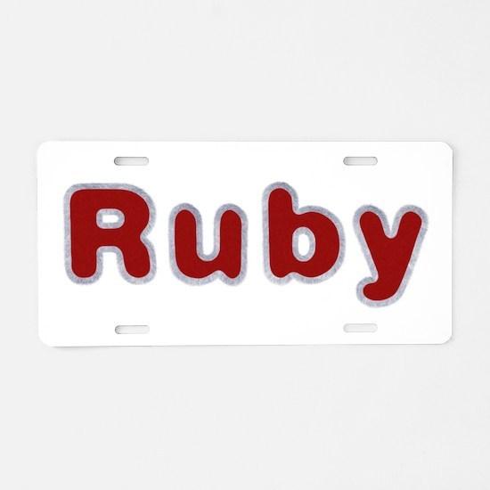 Ruby Santa Fur Aluminum License Plate