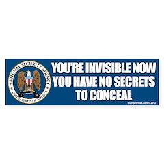 NSA Invisible Bumper Bumper Sticker