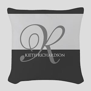 Elegant Custom Monogram Woven Throw Pillow