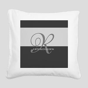 Elegant Custom Monogram Square Canvas Pillow