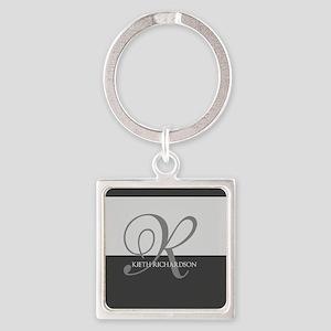 Elegant Custom Monogram Square Keychain