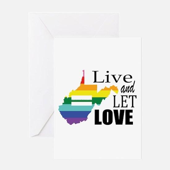 West Virginia live let love sq blk font Greeting C