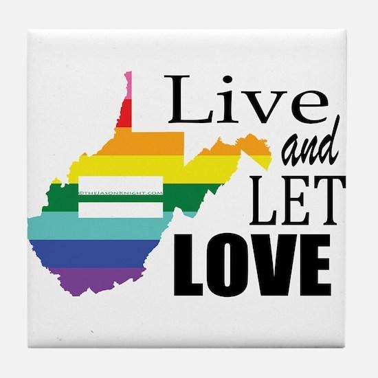 West Virginia live let love sq blk font Tile Coast
