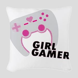 Girl Gamer Woven Throw Pillow