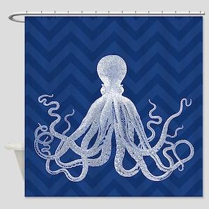 Chevron Octopus Dk Shower Curtain