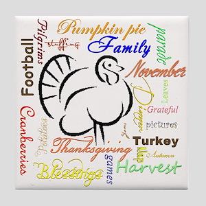 Thanksgiving words Tile Coaster